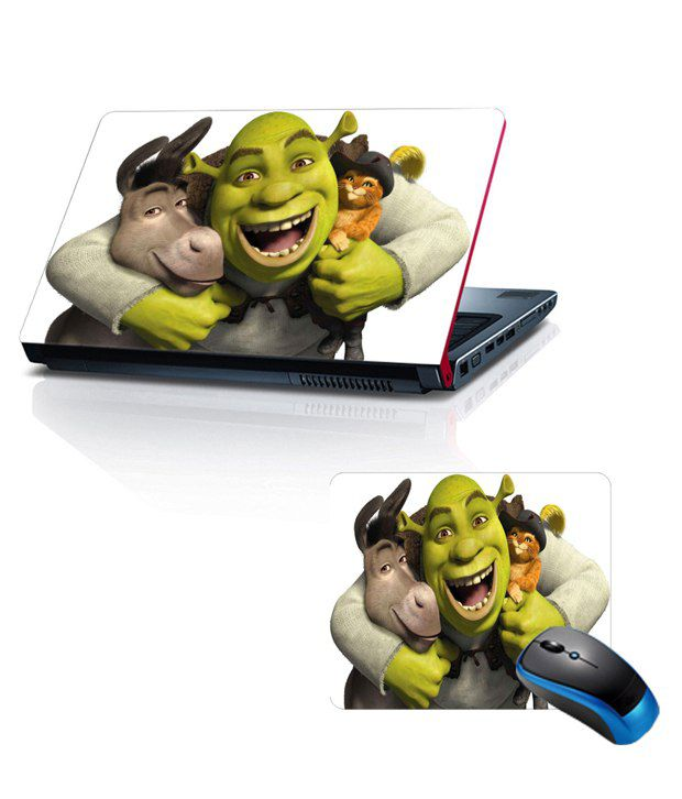 Shopkeeda Combo Of 15.6 Laptop Skin and Mouse Pad Shrek