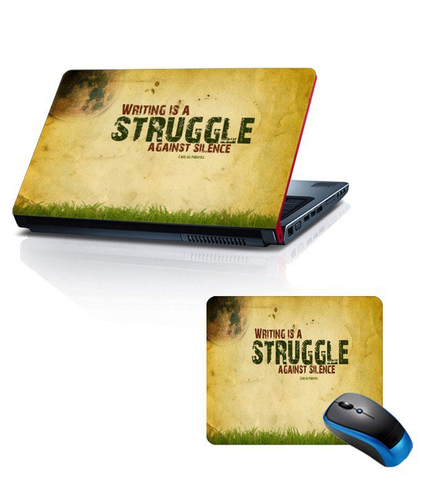 Shopkeeda Combo Of 15.6 Laptop Skin and Mouse Pad Struggle