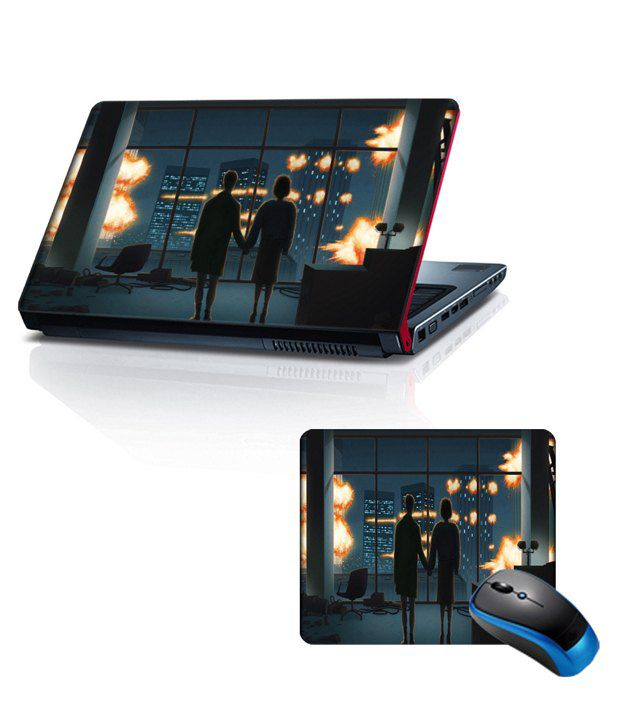 Shopkeeda Combo Of 15.6 Laptop Skin and Mouse Pad Couple