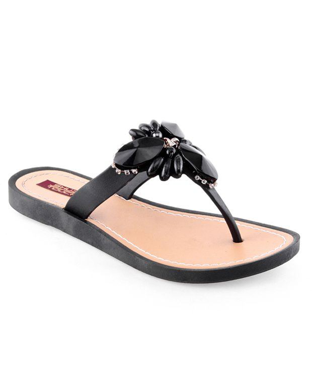 Shuz Touch Black Synthetic Flat Flip Flops