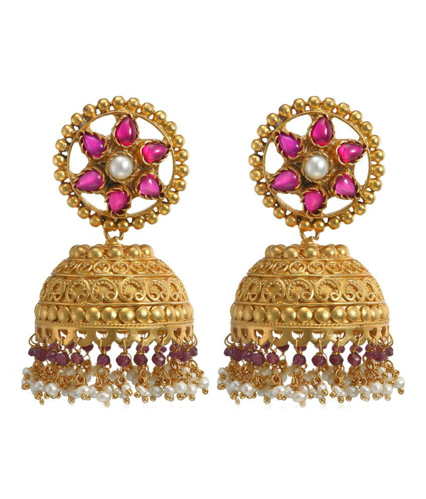 Aarohee Sterling Silver With Gold Finish Jhumkas