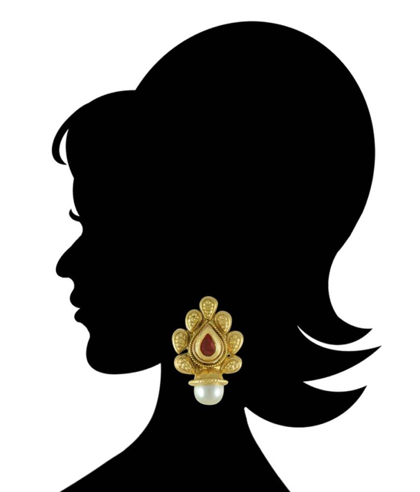 Adiva Antique Polki Stud Earrings