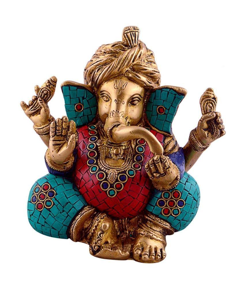 Collectible India Pagdi Ganesh statue - ganesha idol - colorful stone inlay