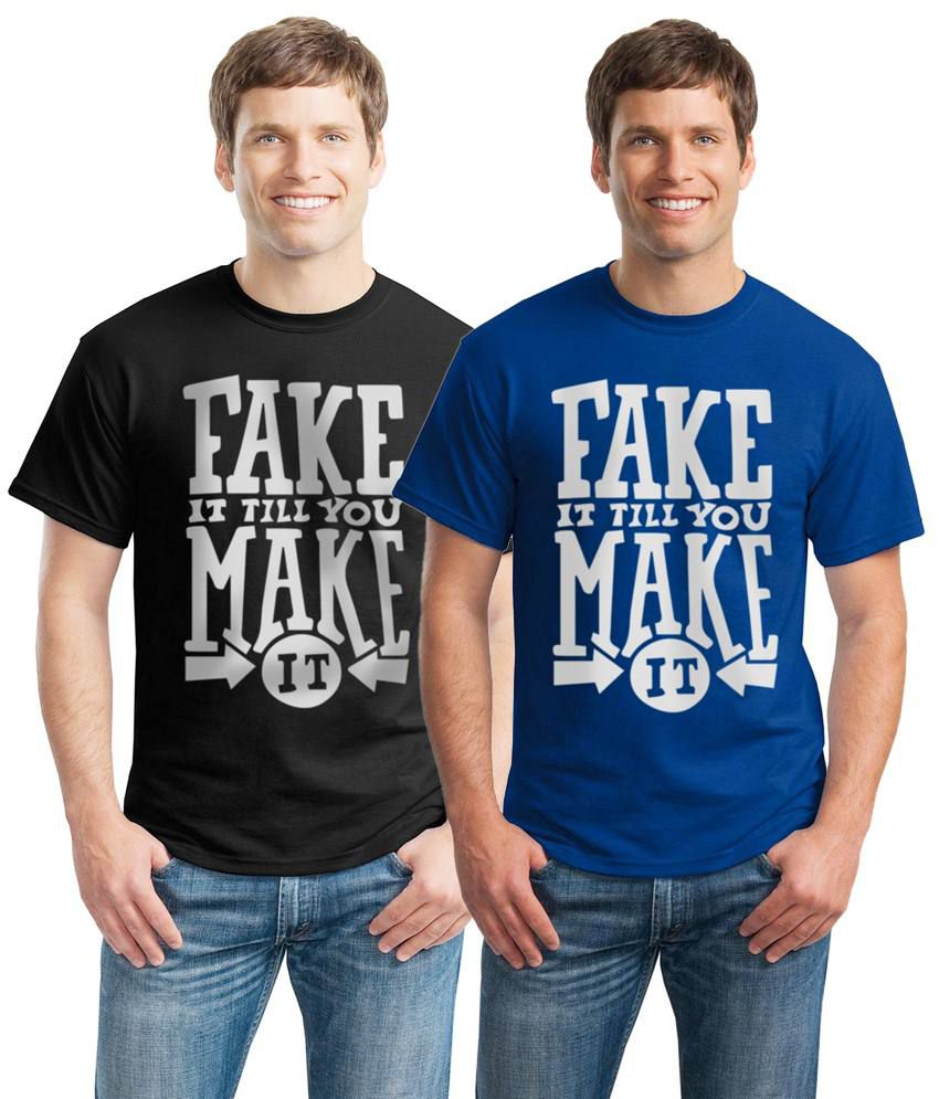 Inkvink Clothing Unique Pack of 2 Black & Blue Half Sleeve T Shirts for Men