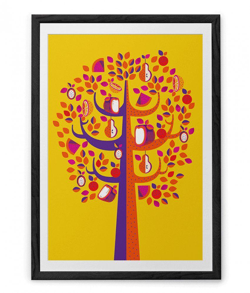 Chumbak Yellow And Orange Pastel Tree Art Print With Black Frame ...