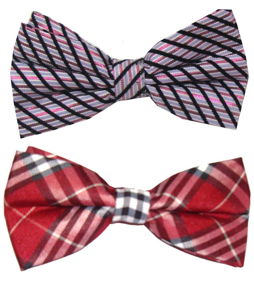 Leonardi Saver Pack of 2 Pink & Red Casual Bow Ties for Men