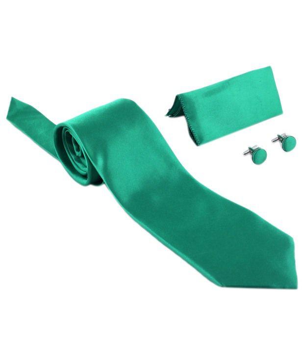 Pratishtha Set of Green Necktie, Cufflinks & Pocket Square for Men