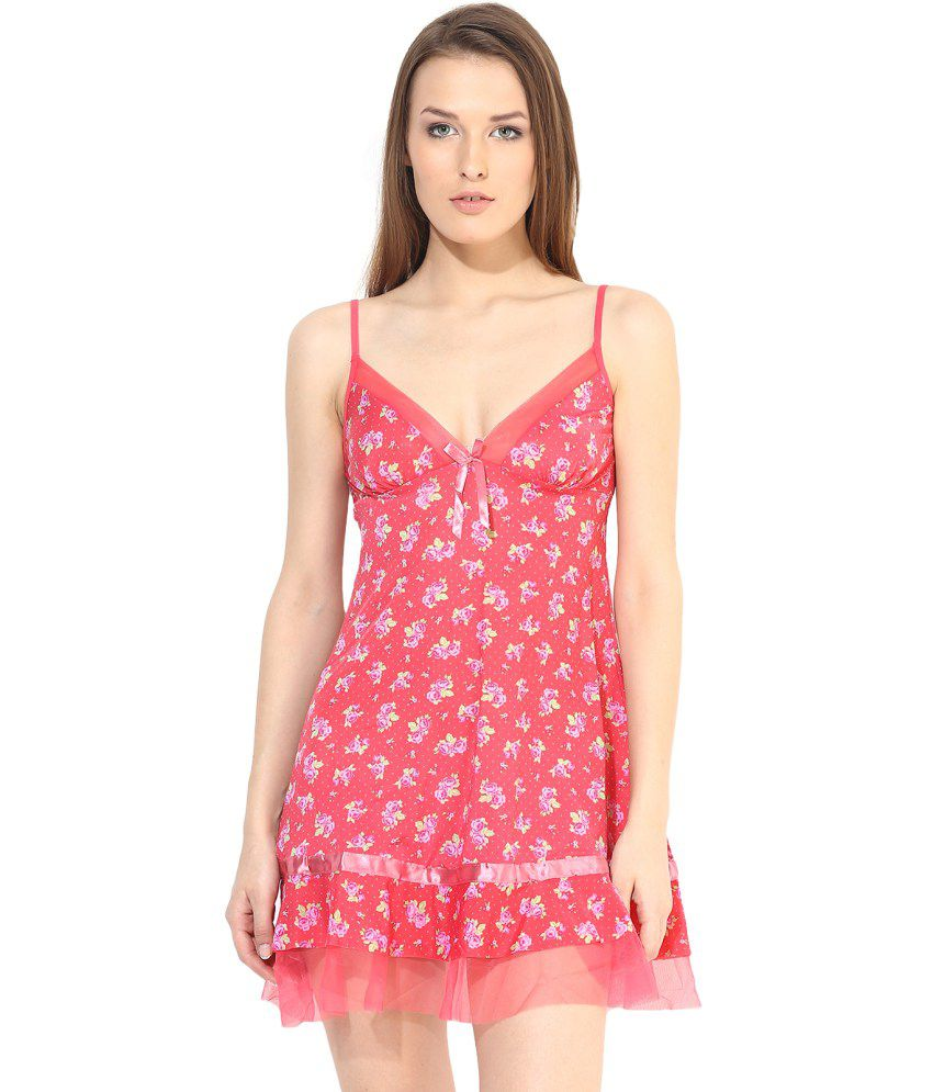 Ruby Pink Polyester Baby Doll Dresses