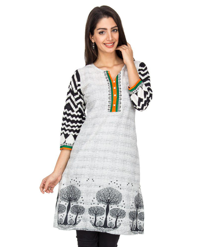 UVKA White Cotton Kurti