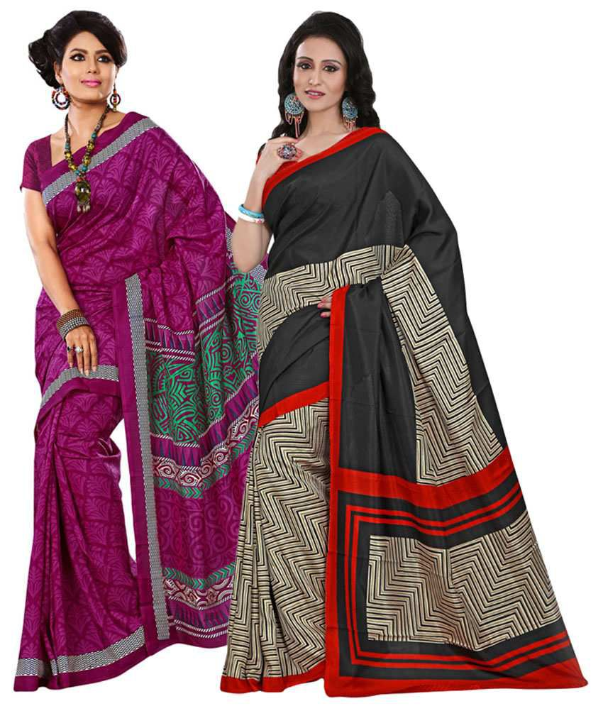 Yuvanika Black & Pink Cotton Pack of 2