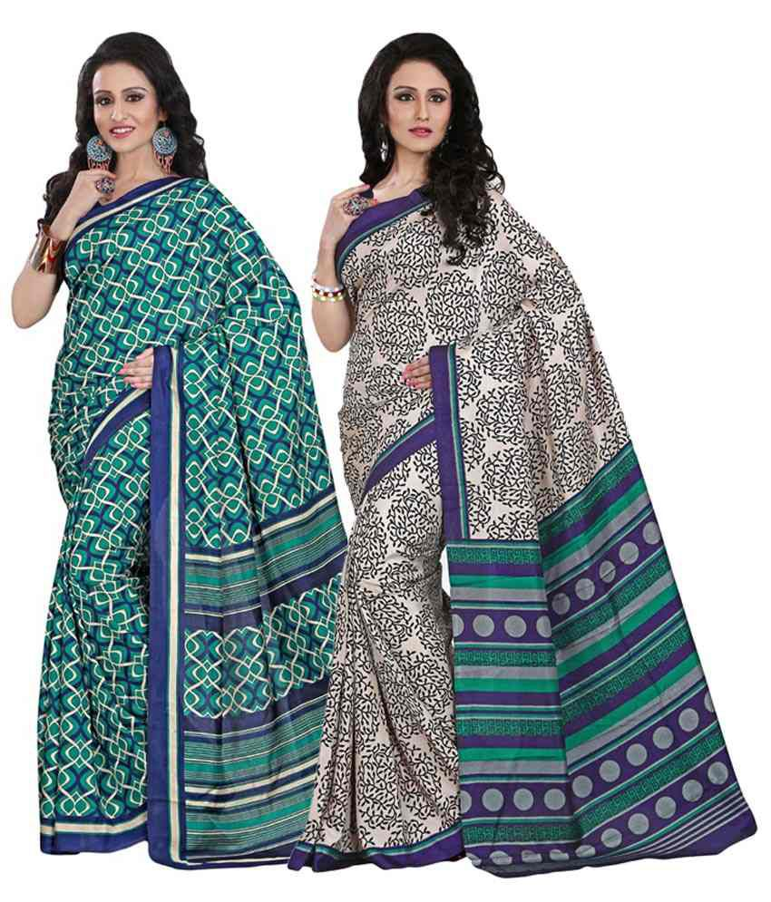 Yuvanika Green & Purple Cotton Pack of 2