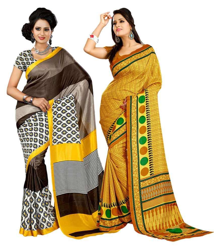 Yuvanika Yellow & Brown Cotton Pack of 2