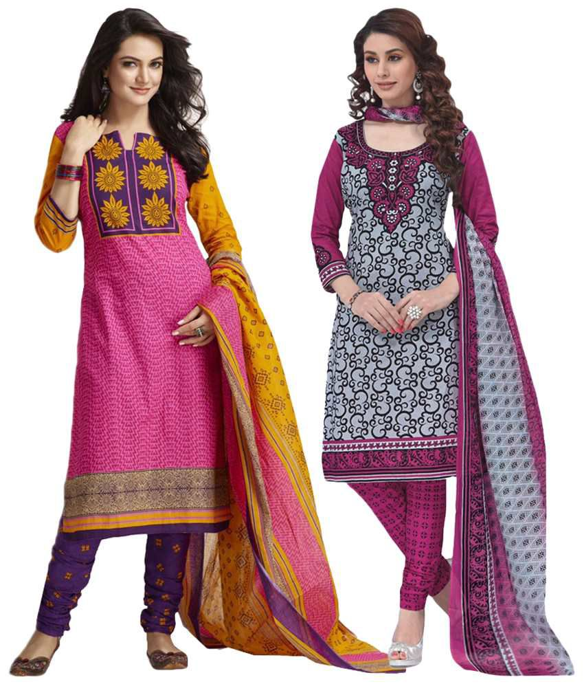 Baalar Pink Cotton Unstitched Dress Material