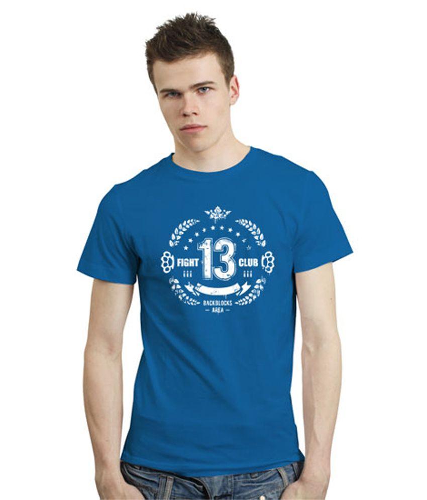 Impress Me Blue Cotton Printed Round Neck T-Shirt