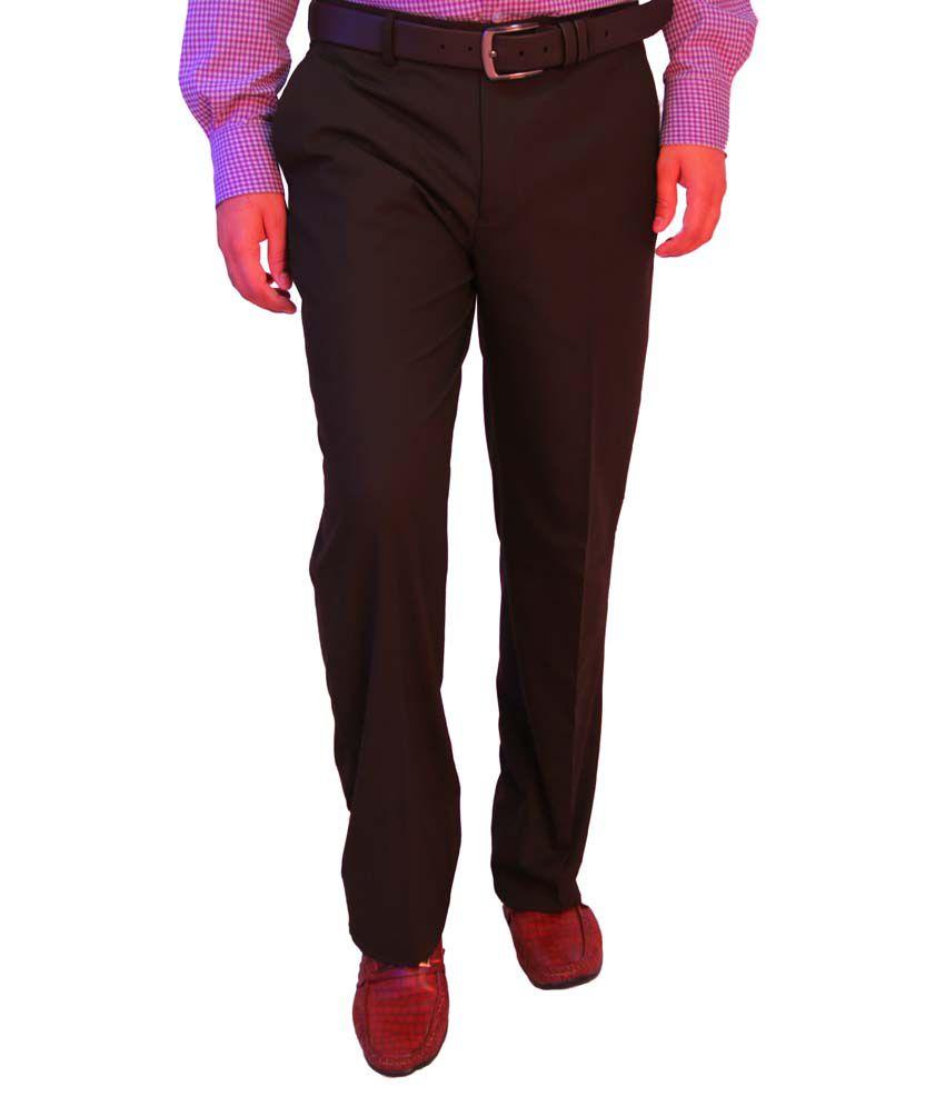 Integration Brown Poly Viscose Regular Flat Formals Trouser