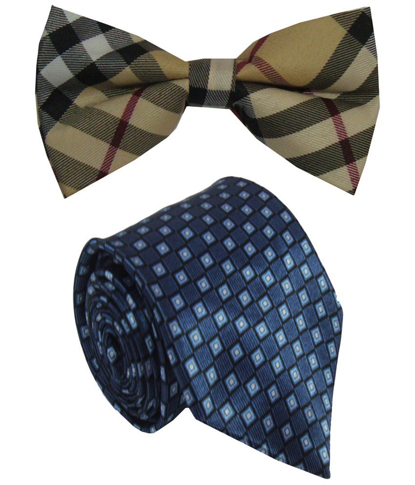 Leonardi Impressive Set of Blue Broad Necktie & Beige Bow Tie for Men