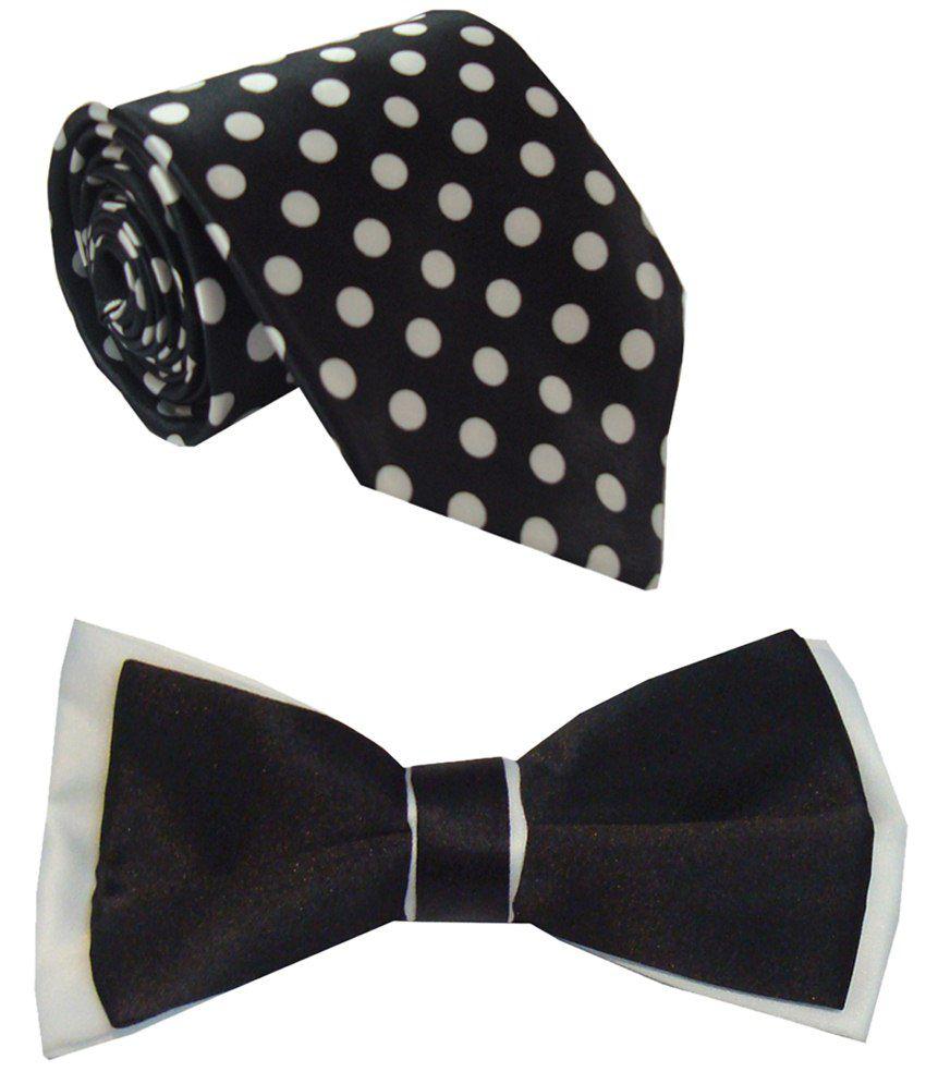 Leonardi Remarkable Set of Black Broad Necktie & Bow Tie for Men