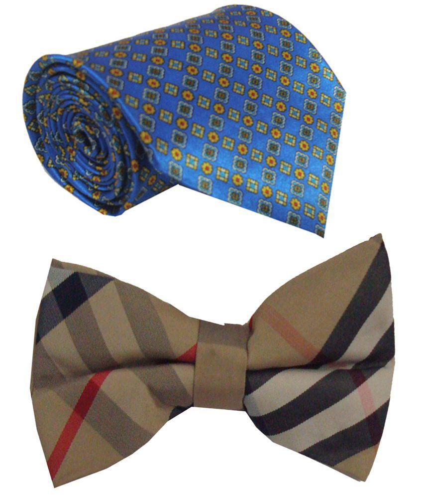 Leonardi Trendy Set of Blue Broad Necktie & Beige Bow Tie for Men