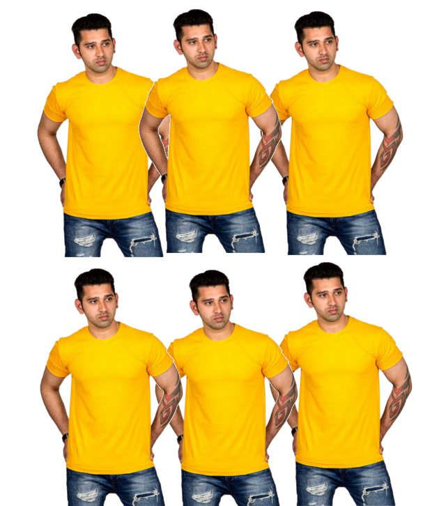 Now Combo of Yellow Cotton T-shirts (Pack of 6)