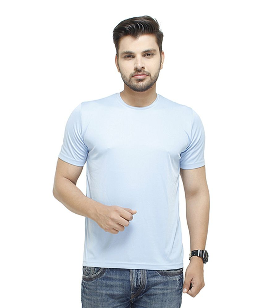 Profiler Sky Blue Polyester Round Neck Solid T-Shirts (Pack of 6)