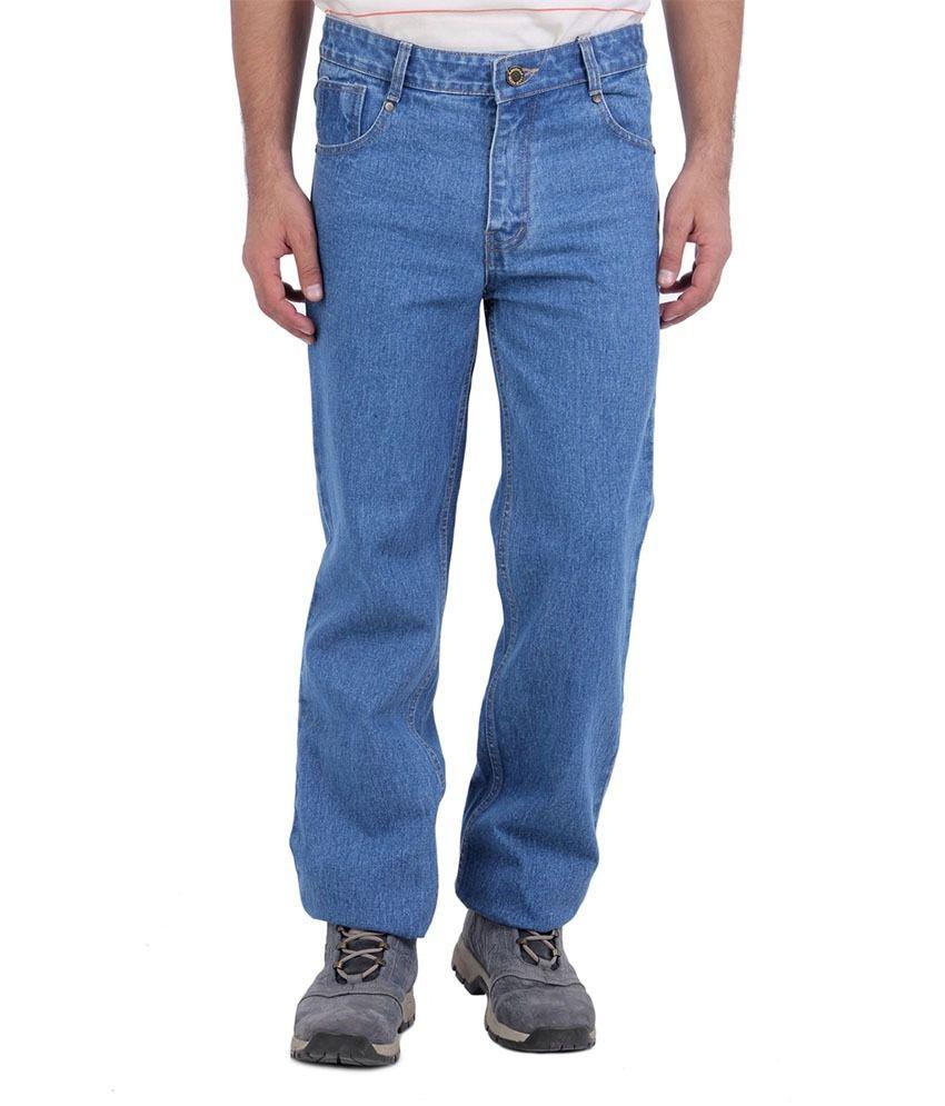 Skull Jeans Blue Cotton Jeans