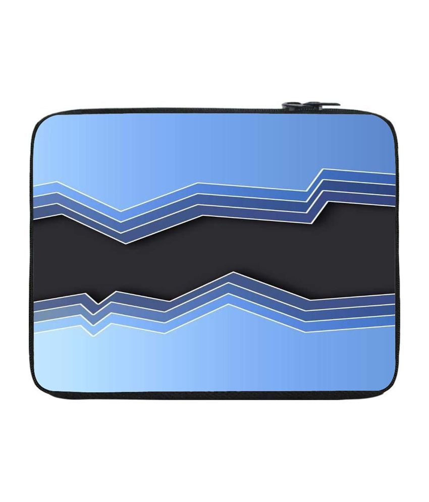 Snoogg Blue and Black Laptop Sleeve