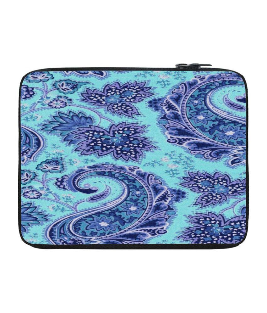 Snoogg Turquoise and Purple Laptop Sleeve