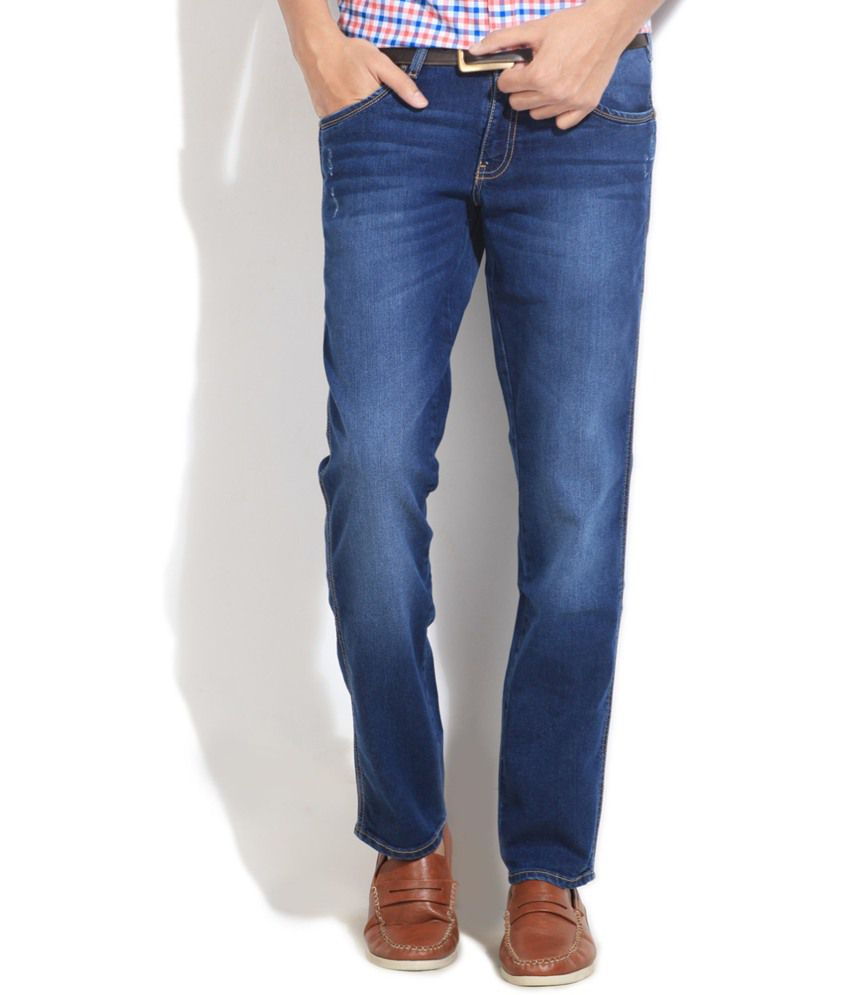 Wrangler Blue Cotton Regular Fit Jeans