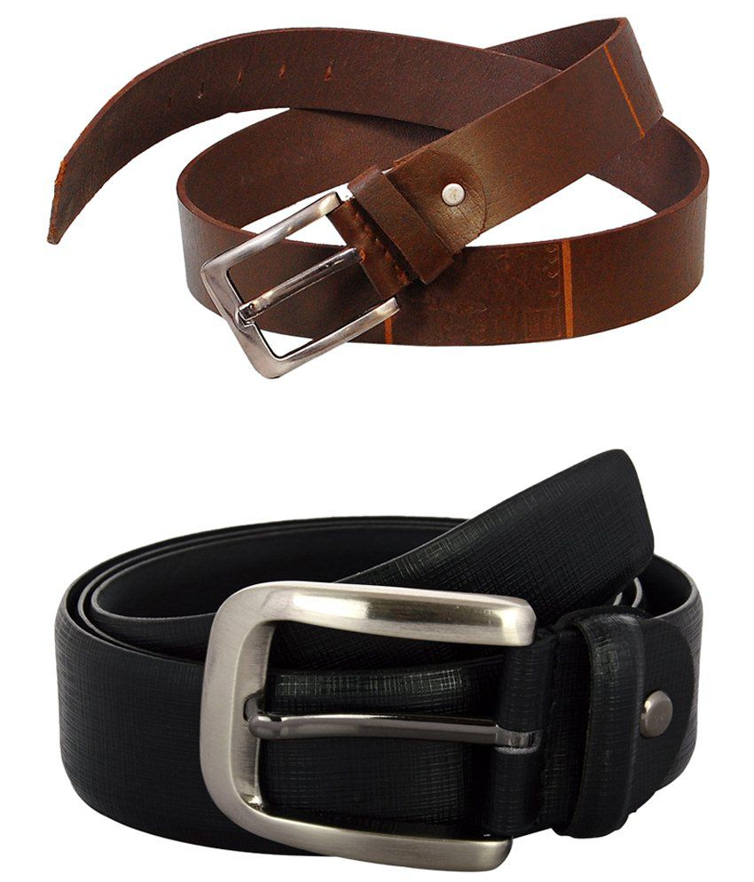 Zohran Admirable Pack of 2 Black & Tan Belts for Men