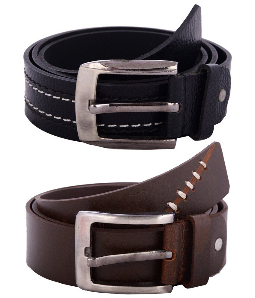 Zohran Appealing Pack of 2 Black & Brown Belts for Men