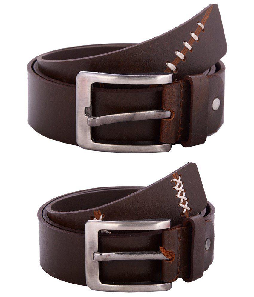 Zohran Subtle Pack of 2 Brown Belts for Men