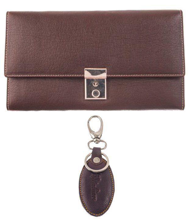 Lee Italian Set of Brown Formal Wallet & Keychain for Women