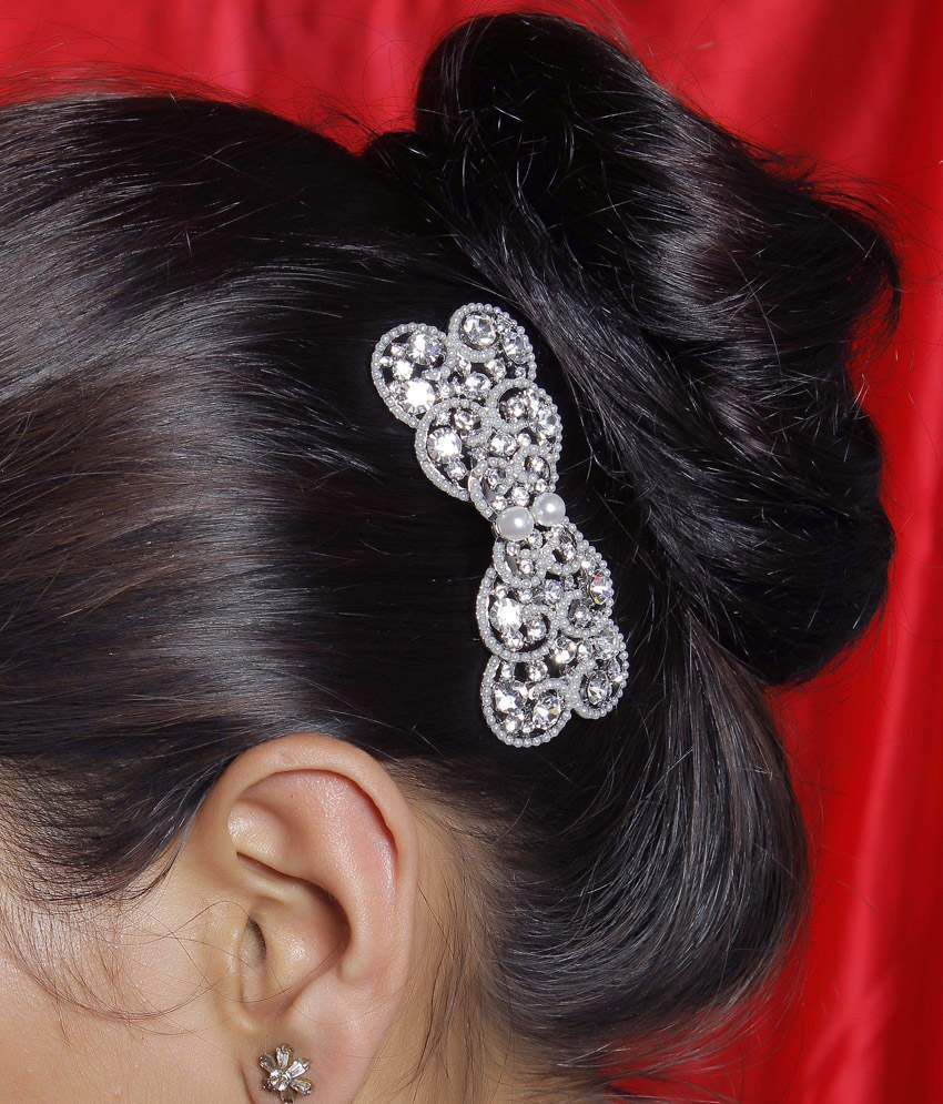 Hair accessories for wedding online india -  Much More Bow Design Pearl American Stone Hair Clip For Kids Women Hair Accessories