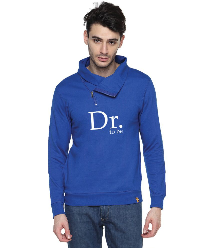 Campus Sutra Blue Cotton High Neck Sweatshirt For Men