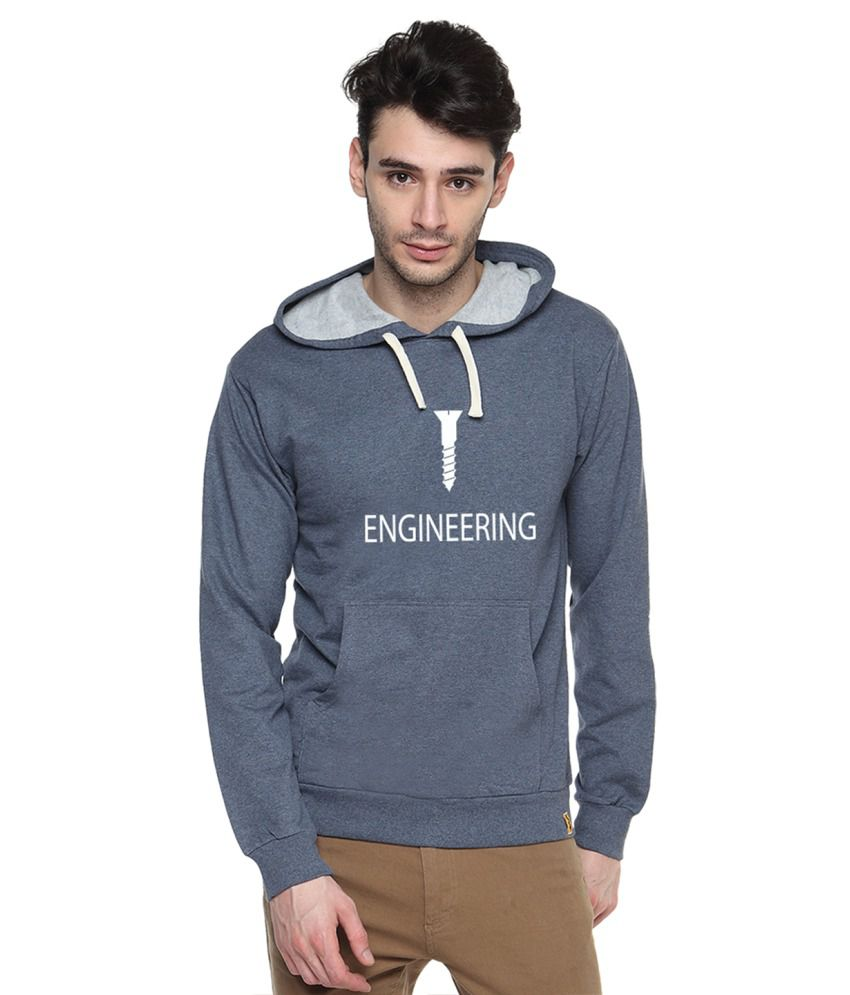 Campus Sutra Blue Cotton Sweatshirt