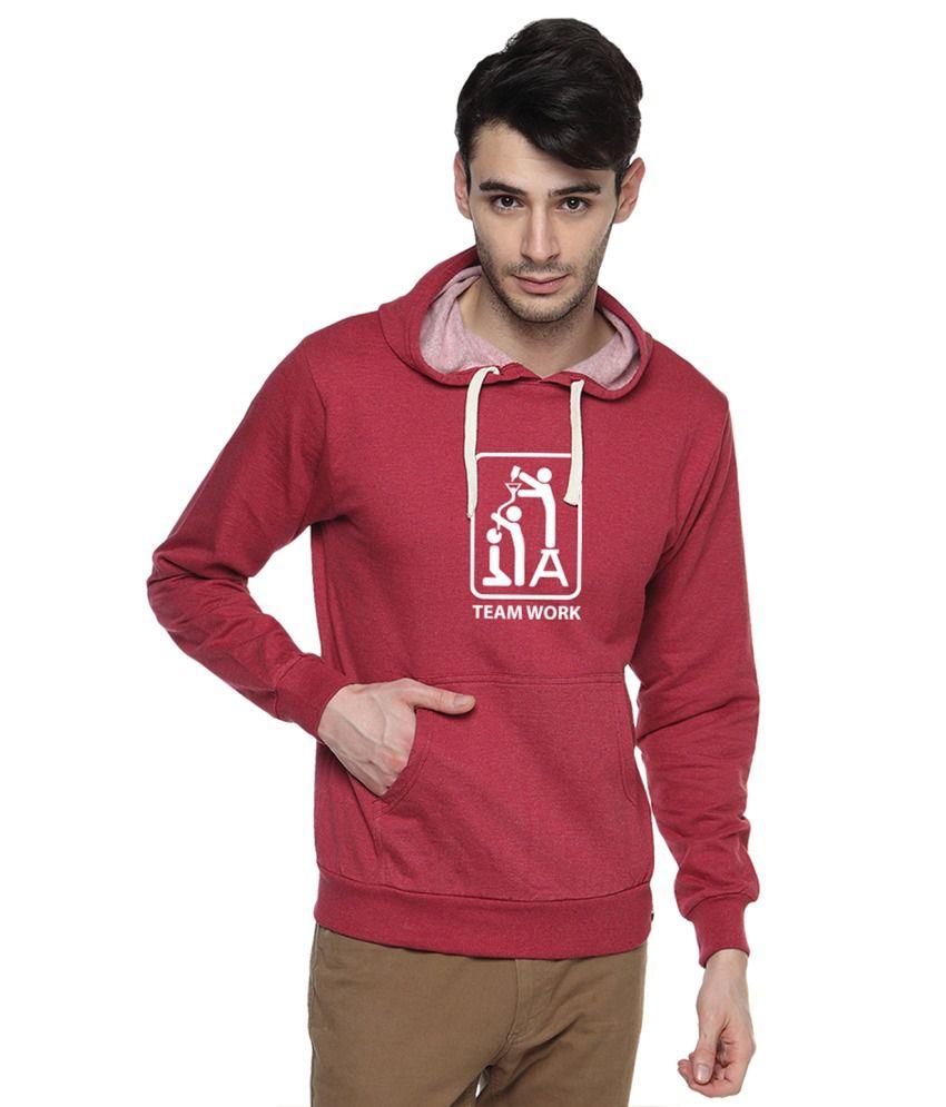 Campus Sutra Maroon Cotton Sweatshirt