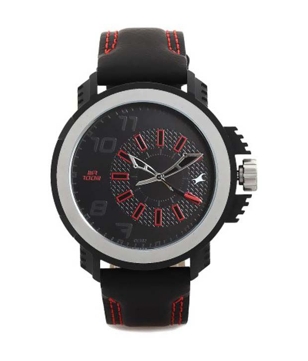 fastrack black analog leather round watch buy fastrack