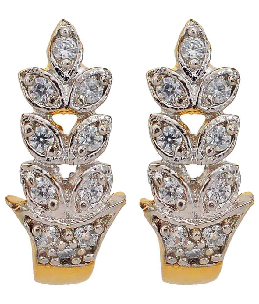 Maayra Fashionable Golden American Diamond Huggies Earrings