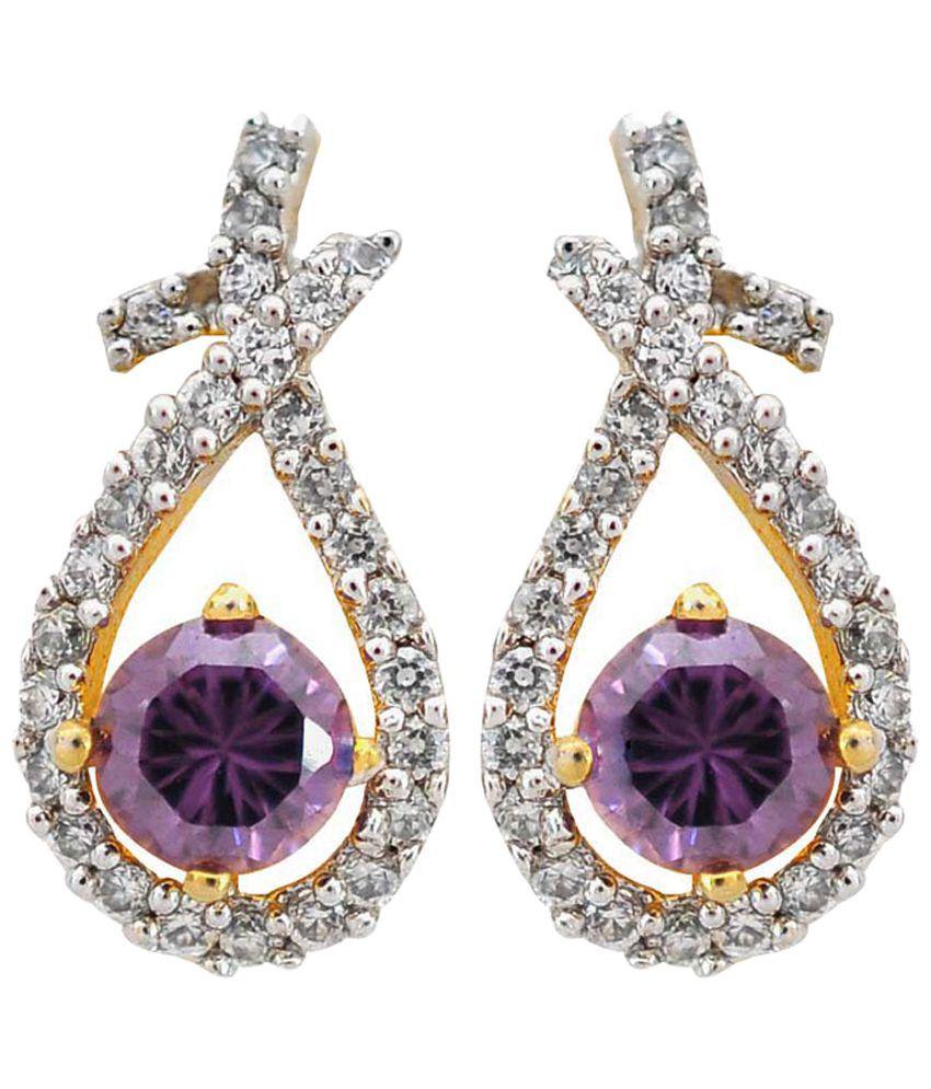 Maayra Purple & Golden American Diamond Stud Earrings