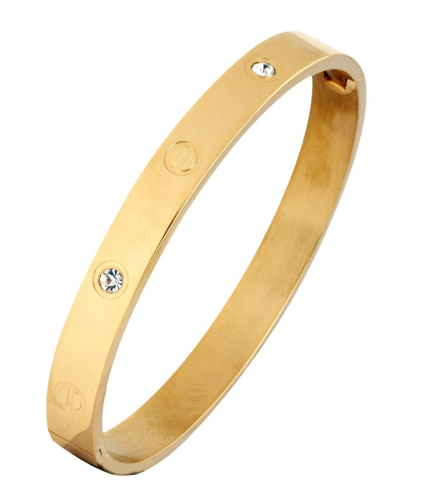 The Jewelbox Openable American Diamond 18k Gold Plated Surgical Stainless Steel Kada Bracelet