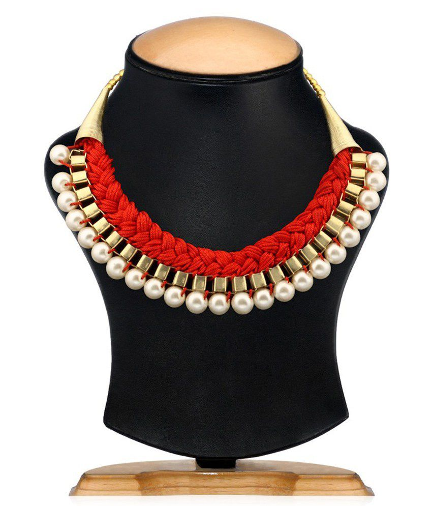 Ada Antique Alloy Red And Gold Necklace