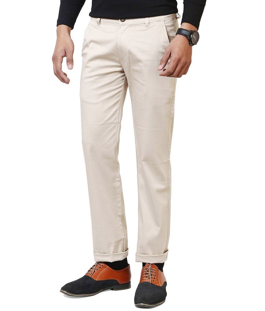 World Famous Beige Cotton Chinos