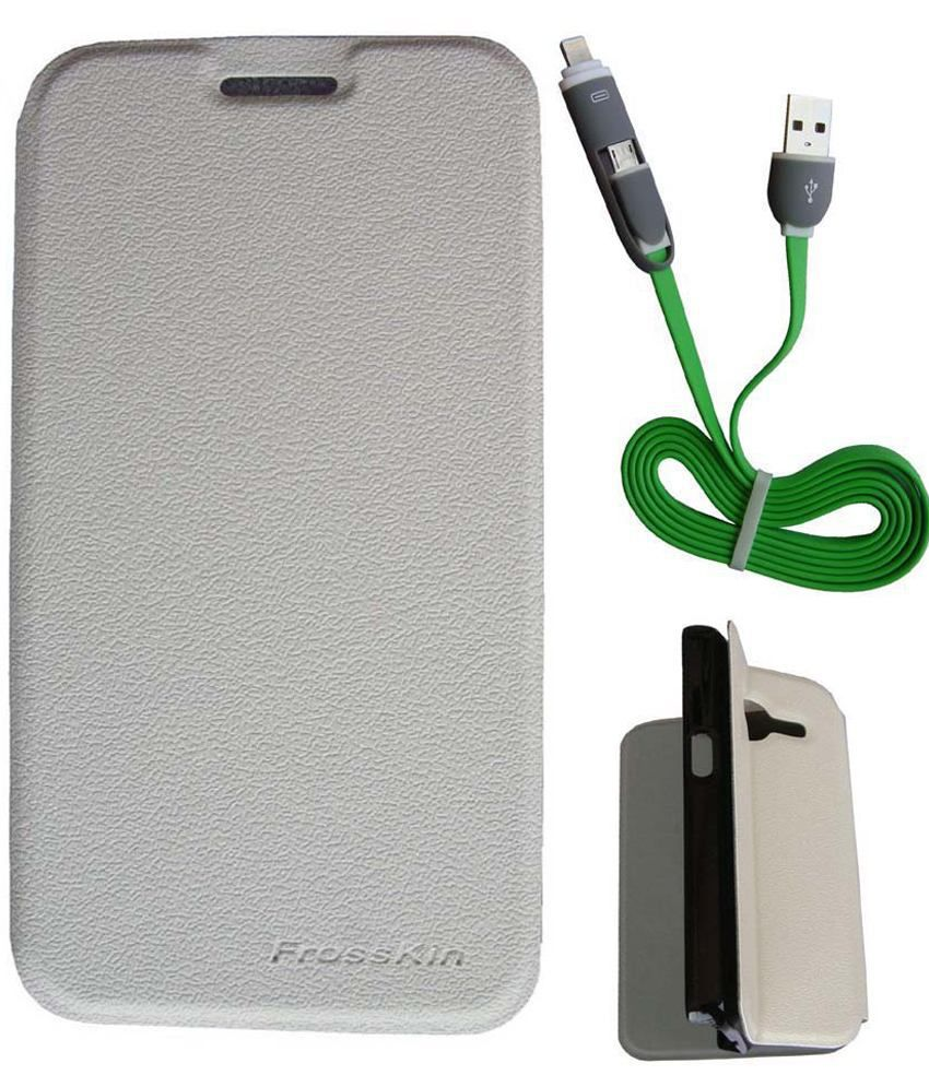 FrossKin Combo Of Flip Cover & 2in1 High Speed-Green Data Cable For Samsung Galaxy Alpha G850-White