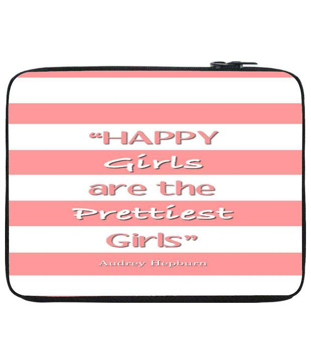 Snoog Pink & White Laptop Sleeve