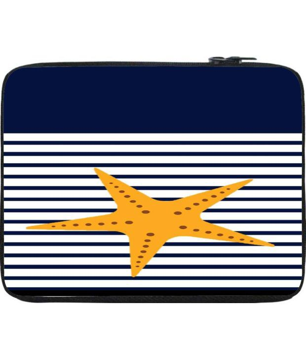 Snoogg Navy and Yellow Laptop Sleeve