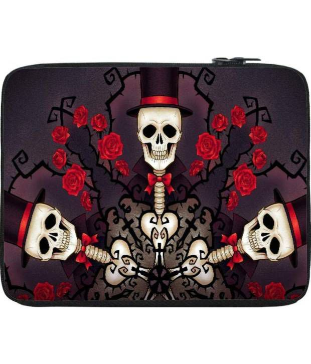 Snoogg Purple and Red Laptop Sleeve