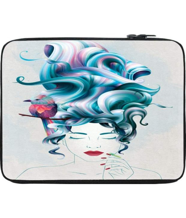 Snoogg Turquoise and White Laptop Sleeve