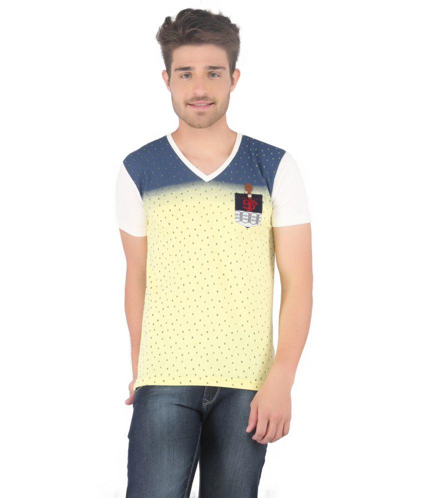 Stride Yellow Cotton V-Neck