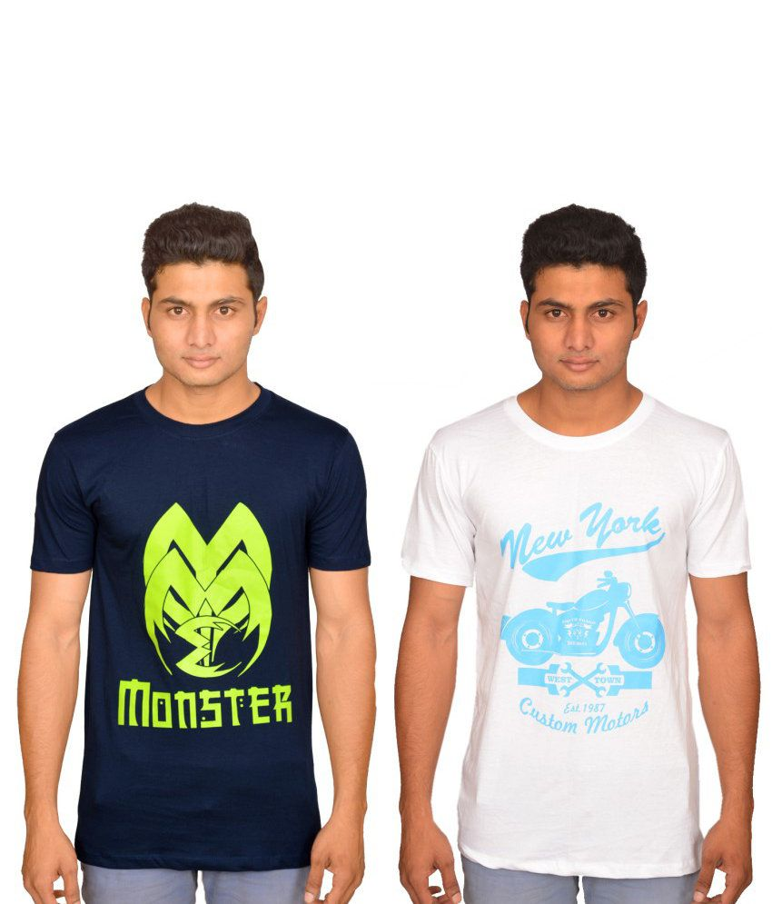Xlent Combo Of Navy And White Cotton T-shirt (Pack Of 2)