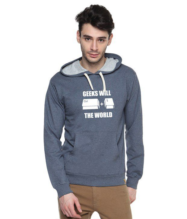 Campus Sutra Blue Cotton Full Sleeved Sweatshirt With Quotes